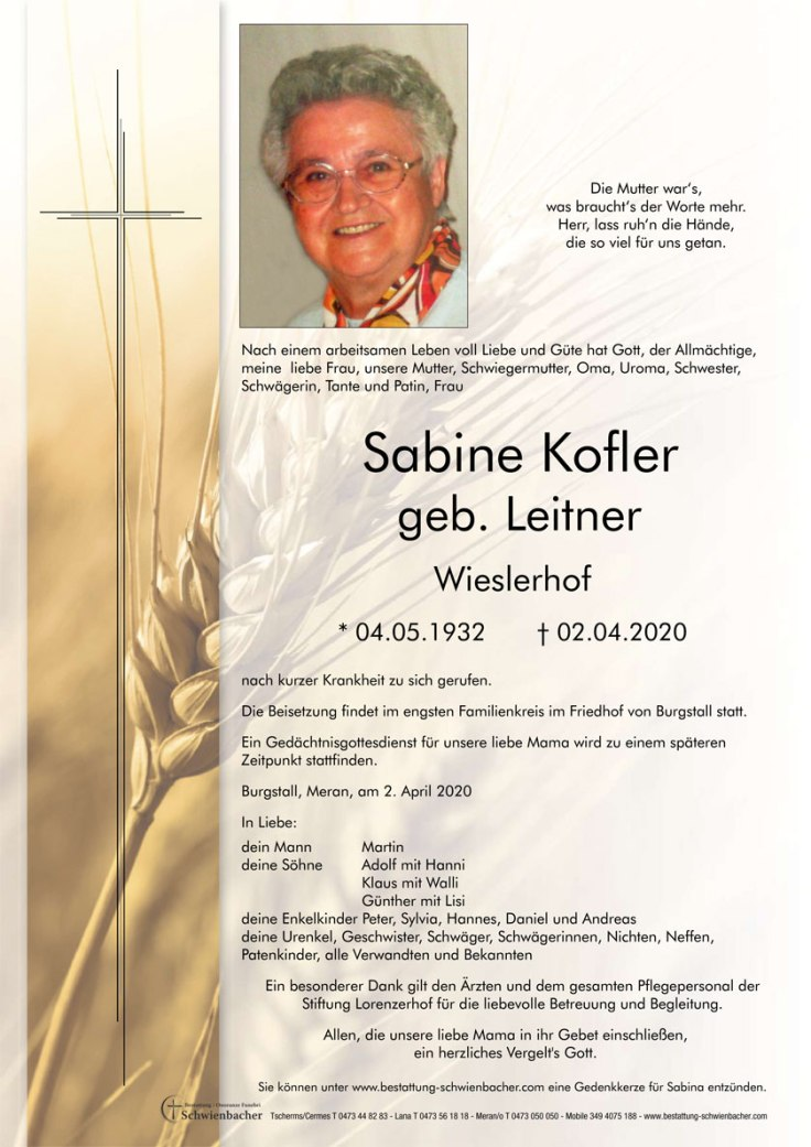 Trauer Kofler Sabine