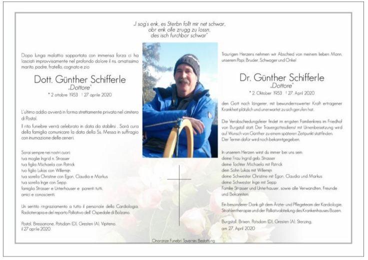 Trauer Schifferle Günther